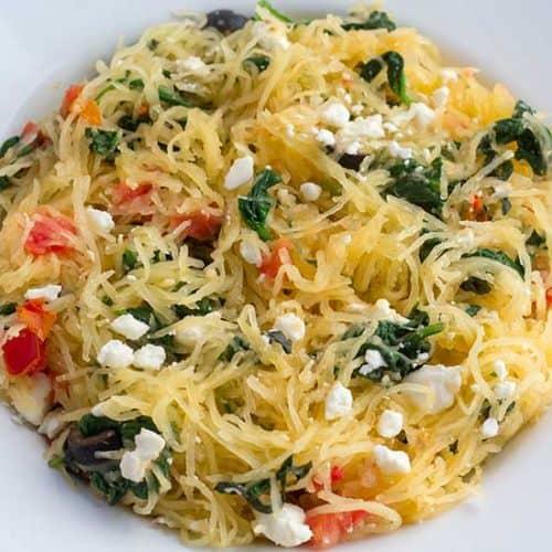 Instant Pot spaghetti squash in while bowl.