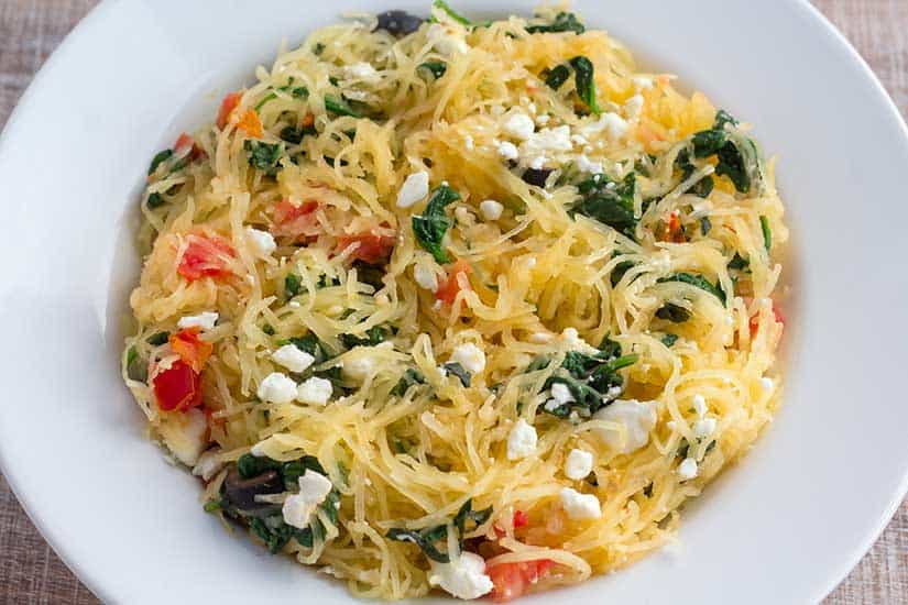 Instant Pot spaghetti squash in while bowl.
