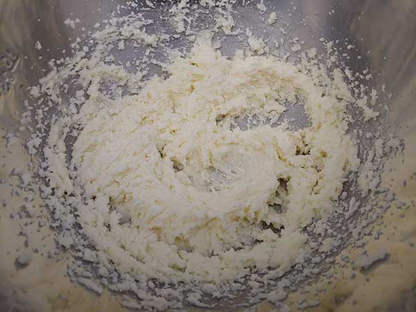 "Butter and sugar ""creamed"" together in large mixing bowl."