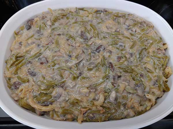 Vegan green bean casserole in dish.