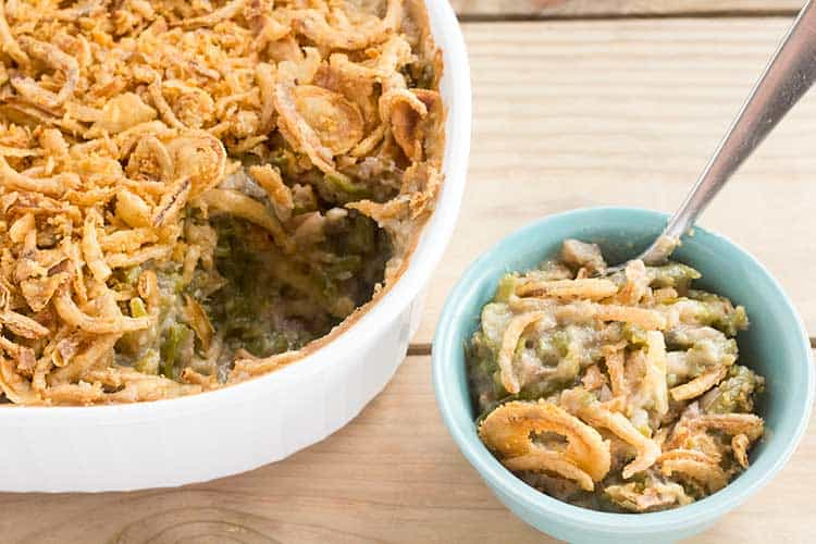 Vegan green bean casserole in dish and small bowl.