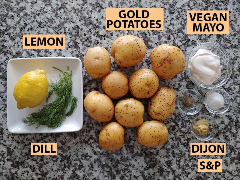All ingredients for vegan potato salad.