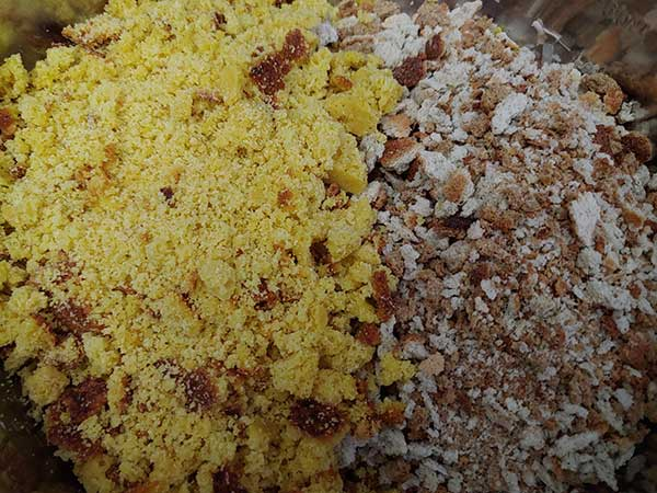 Crumbled cornbread and stuffing mix in large bowl.
