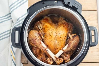 Fully cooked whole turkey in Instant Pot .