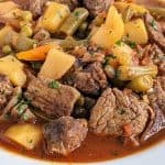 Instant Pot Vegetable Beef Soup in white bowl