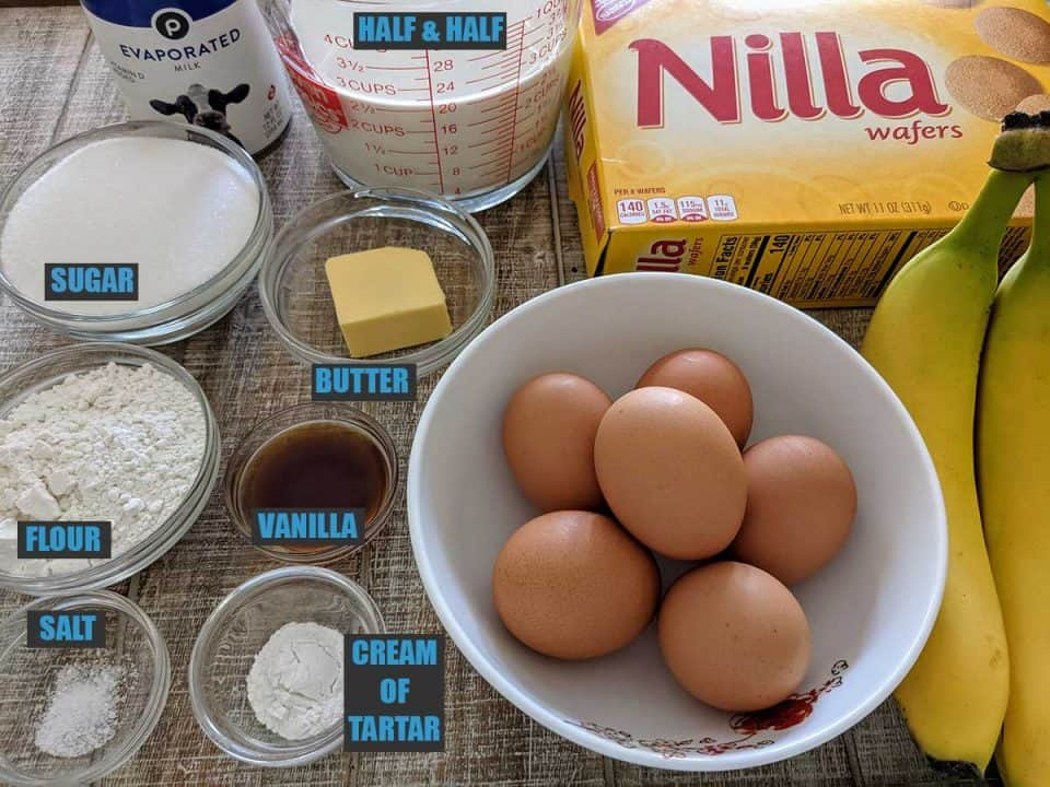 Ingredients in southern banana pudding
