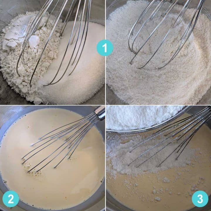 picture collage with steps 1, 2, and 3 for banana pudding