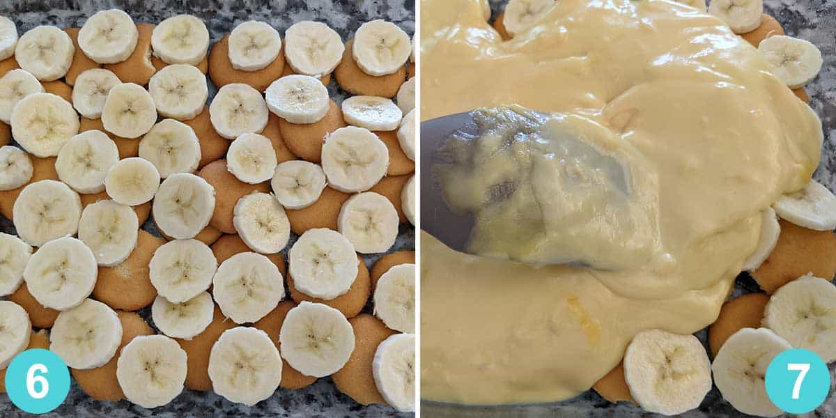 picture collage with steps 6 and 7 for banana pudding